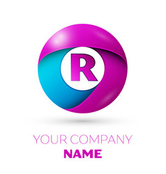 Letter r logo symbol in the colorful circle vector