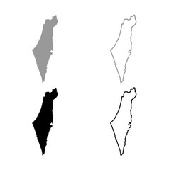 Map of israel icon outline set grey black color vector
