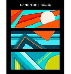 Material design abstract web banner set vector
