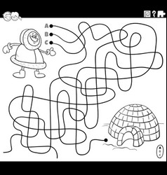 Maze with eskimo character and igloo coloring vector