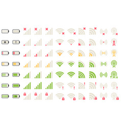 Mobile level icons network signal wifi vector