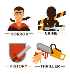 Movie genre icons flat isolated symbols vector