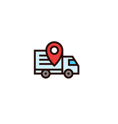 Moving truck tracking icon with pin locator vector