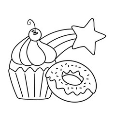 muffin with donut and shooting star black and vector image