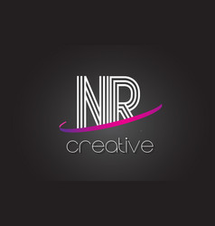 nr n r letter logo with lines design and purple vector image