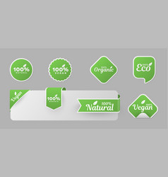 organic product stickers labels templates vector image