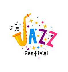 original flat badge for jazz festival vector image