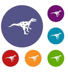 Ornithopod dinosaur icons set vector