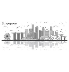 Outline singapore city skyline with modern vector