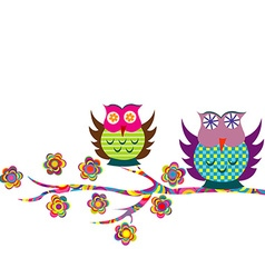 Patterned cartoon owls on a branch vector
