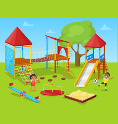 pupils active on school yard classmate vector image