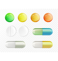 Realistic drugs pills and capsules set vector