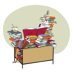 School Desk with books literature and the library vector