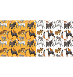 Seamless background design with cute dogs vector