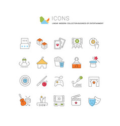 set line icons entertainment business vector image