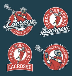 Set of lacrosse team emblems vector image vector image