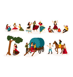 Set of lifestyle scenes with gypsies or romani vector