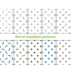 Set seamless patterns Coffee Turk French press vector