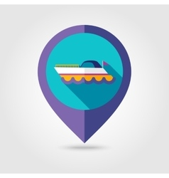 Ship Boat flat mapping pin icon with long shadow vector