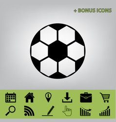 soccer ball sign black icon at gray vector image vector image