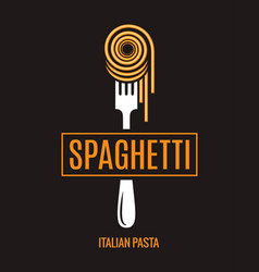 spaghetti on fork design italian pasta logo on vector image