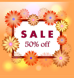 Spring sale orange background with blooming vector