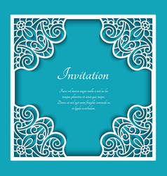Square frame with cutout lace pattern vector