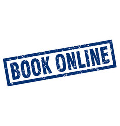 square grunge blue book online stamp vector image