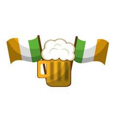 st patricks day beer and flag design vector image