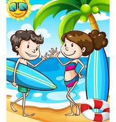 Summer beach scene with boy and girl vector