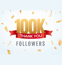 thank you 100000 followers design template social vector image