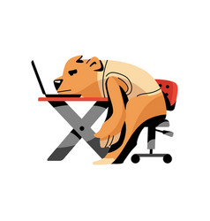 Tired brown bear stay with head on desktop vector