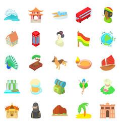 Travel landmark icons set cartoon style vector