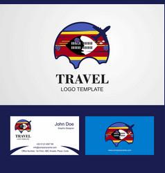 Travel swaziland flag logo and visiting card vector