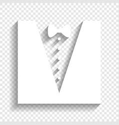 Tuxedo with bow silhouette white icon vector