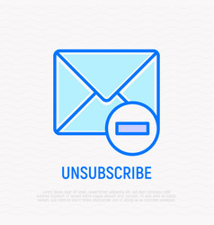 unsubscribe thin line icon envelope with minus vector image