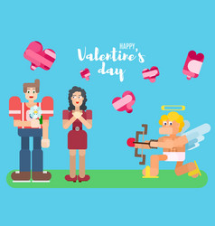 valentine39s day poster with lovers in flat style vector image