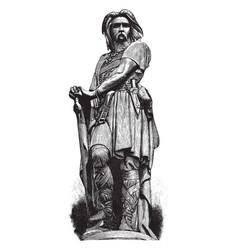 Vercingetorix statue vintage engraving vector