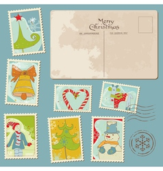 Vintage christmas stamps vector