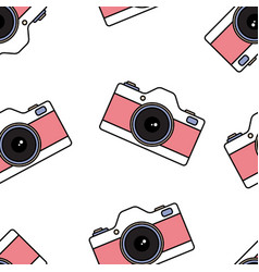 vintage colorful photo cameras seamless pattern vector image