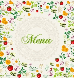 Vintage healthy food menu background vector image