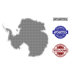 welcome collage of halftone map of antarctica and vector image
