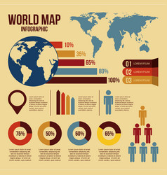 World map infographics and information graphics vector