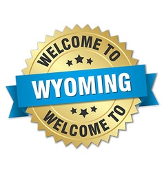 Wyoming 3d gold badge with blue ribbon vector