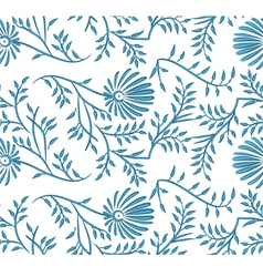 Blue and white seamless floral background vector image vector image