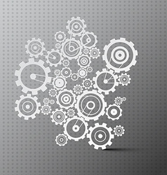 Cogs Paper Cut Gears on Grey Background vector image