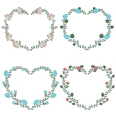 Floral frames in shape of heart vector
