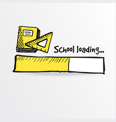 loading bar with a yellow notebook and ruler vector image