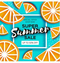 Orange super summer sale banner in paper cut style vector