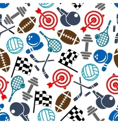 Sport items color seamless pattern vector image vector image